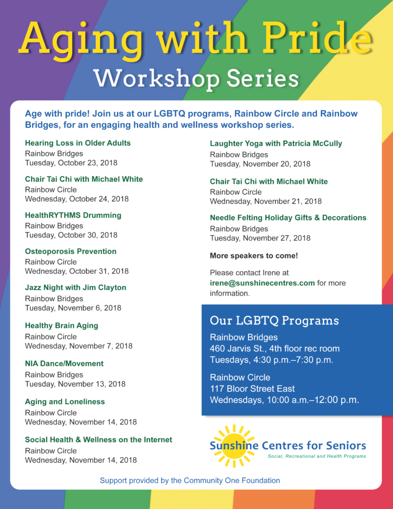 A flyer for the Aging with Pride Workshop series. See our Schedule and Events page for more details.
